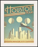 Houston, Texas: Space City Framed Giclee Print by  Anderson Design Group
