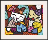 Happy Cat and Snob Dog Posters by Romero Britto