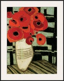 Poppies on Table with Chairs Framed Giclee Print by Karen Tusinski