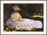 Woman Reading Prints by Claude Monet
