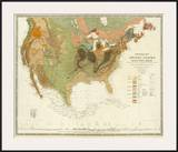 Geological Map of the United States, c.1856 Art by Henry Darwin Rogers