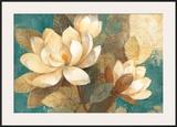 Turquoise Magnolias Poster by Albena Hristova