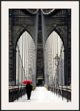 Brooklyn Bridge Meets Red Poster by Michael Cahill