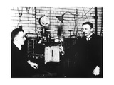 Rutherford And Geiger In Laboratory Giclee Print by Peter Fowler