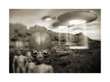 Alien Contact In the 1940s, Artwork Giclee Print by Detlev Van Ravenswaay
