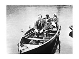 E. Rutherford with His Wife And Daughter In a Boat Giclee Print by Peter Fowler