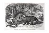 1867 Figuier Iguanodon And Megalosaurus Giclee Print by Stewart Stewart