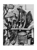 Water Wheel Powering a Machine for Making Cloth Giclee Print by Science Photo Library