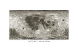 Spacecraft on the Moon, Lunar Map Giclee Print by Detlev Van Ravenswaay