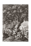 Druids Being Converted To Christianity Giclee Print by Middle Temple Library