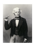 Michael Faraday Holding Glass Bar Giclee Print by National Library of Medicine