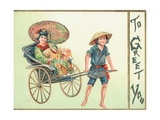 Geisha Girl Being Pulled in Cart, Christmas Card Giclee Print