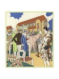 At the Horse Show and Races of Le Touquet Giclee Print by René Vincent