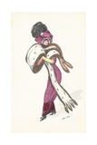Elegant Parisian Woman, with Long Fur Stole Giclee Print by Xavier Sager
