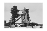 Soviet Space Shuttle, Buran, on Launchpad. Giclee Print by Ria Novosti