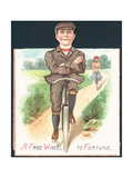 Man and Lady Cycling Down Country Lane, Card Giclee Print