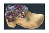 Pansies in Clog, New Year Card Giclee Print
