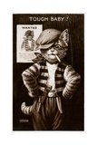 An Anthropomorphic Cat Smoking a Cigarette Giclee Print