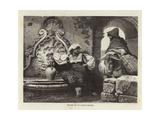 Fountain in a Roman Courtyard Giclee Print by Adolf Closs