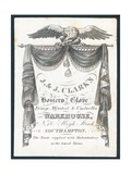 J and J Clark's, Hosiery, Glove, Fringe, Worsted and Umbrella Warehouse, Trade Card Giclee Print