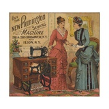 Ladies Looking at Sewing Machine Giclee Print
