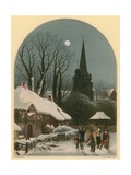 Victorian Christmas Scene with Band Playing in the Snow Giclee Print by John Brandard