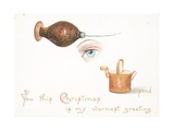 Awl, Eye and Watering Can, Christmas Card Giclee Print