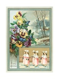Choir Girls and Pansies, Christmas Card Giclee Print