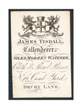 James Tisdall, Callenderer, Silk and Moreen Waterer, Trade Card Giclee Print