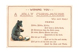 Sitting Grey Mouse, Christmas Card Giclee Print