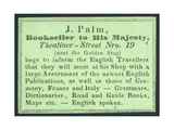 J Palm, Bookseller to His Majesty, Trade Card Giclee Print