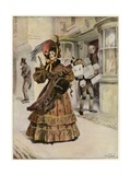 Lady Belinda Goes A-Shopping to Buy Her Yule-Tide Gifts Giclee Print by Gordon Frederick Browne