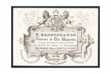 W Harwood and Son, Tailors, Trade Card Giclee Print