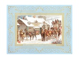Stagecoach and Horses Outside Public House, Christmas Card Giclee Print