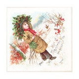 Boy Carrying Holly, Christmas Card Giclee Print