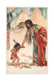 A Native American Woman Holding Hands with Her Child Giclee Print by Frances Brundage