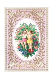 Young Girl and Boy with Flowers and Ribbons, Card Giclee Print