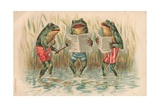 Three Frogs Singing Giclee Print by  English School