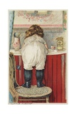 Girl Leaning over Sink Little Mischief Giclee Print