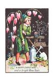 Boy Carrying 'Bleeding Heart' Flowers, Christmas Card Giclee Print