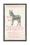 Donkey, Christmas Card Giclee Print
