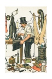 A Man Ironing His Clothes Giclee Print