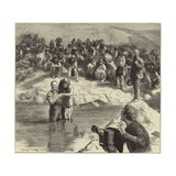 A Baptism of North American Indians Giclee Print by Sydney Prior Hall