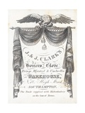 Trade Card, J and J Clark's Hosiery and Gloves Warehouse Giclee Print