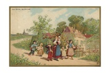 Women and Children Walking Giclee Print
