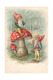 Mushroom with Gnomes Giclee Print