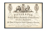 Pitter and Fox, Gold and Silver Laceman and Embroiders, Trade Card Giclee Print