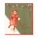Girl Ice-Skating, Christmas Card Giclee Print
