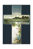 Country Scene Inside Cross, Christmas Card Giclee Print