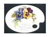 Pansies on Artist's Palette, Chistmas Card Giclee Print